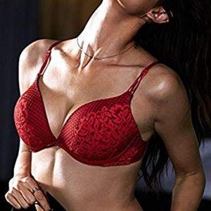 victoria's secret red lace bombshell bra